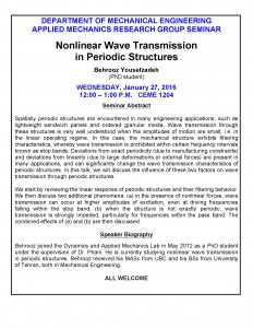 January 27, 2016 – Nonlinear Wave Transmission in Periodic Structures (Behrooz Yousefzadeh)