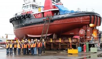 The 2015-16 MEng and MEL NAME students at Seaspan Vancouver Shipyards.