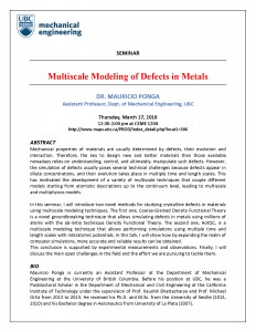March 17, 2016 – Multiscale Modeling of Defects in Metals (Ponga)