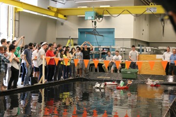 Mech 2 students showcase remote-controlled firefighting boats