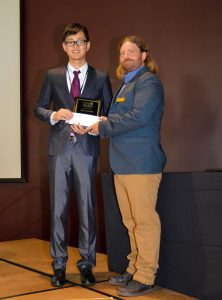 : Patrick Pan receives the 2017 Wood Award first place prize from Prof. David DeVallance, President of the Forest Products Society, at their 71st Annual Convention in Starkville, MS, USA, on June 27, 2017.