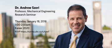 Dr. Andrew Szeri Research Seminar – January 18, 2018