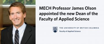 James Olson Appointed the New Dean of the Faculty of Applied Science
