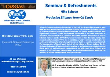 February 15, 2018 – Oil & Gas Initiative Speaker Series: Producing Bitumen from Oil Sands