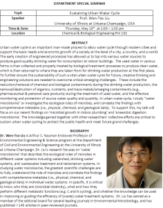 May 10, 2018 – Sustaining Urban Water Cycle, Dr. Wen-Tso Liu