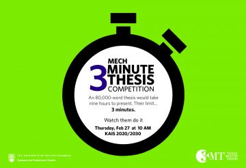 3 Minute Thesis Heat – February 27, 2020