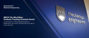 MECH TAs win Killam Graduate Teaching Assistant Awards