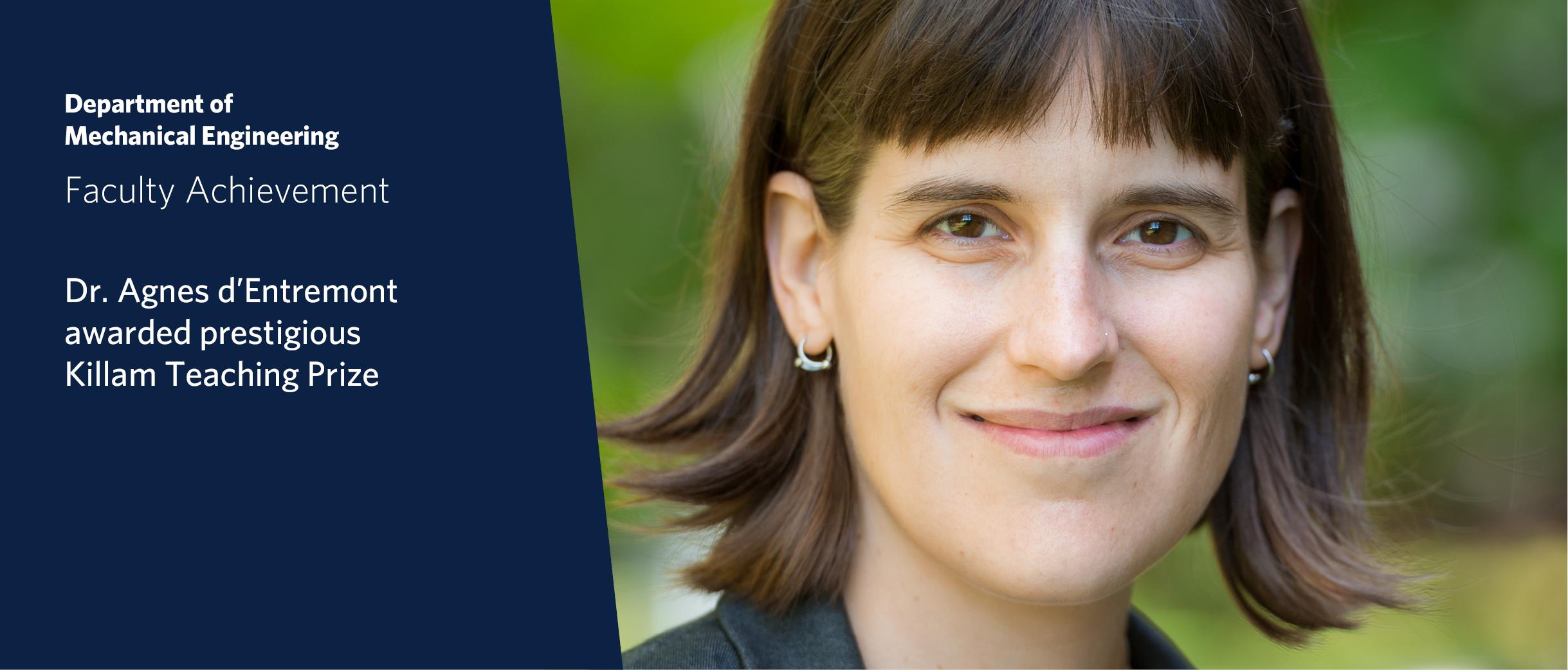 Dr. Agnes d'Entremont wins Killam Teaching Prize