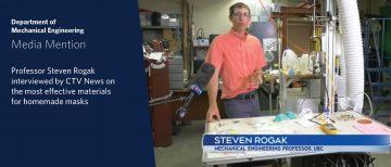 Media Mention: CTV News interviews Professor Steven Rogak on the best materials for homemade masks