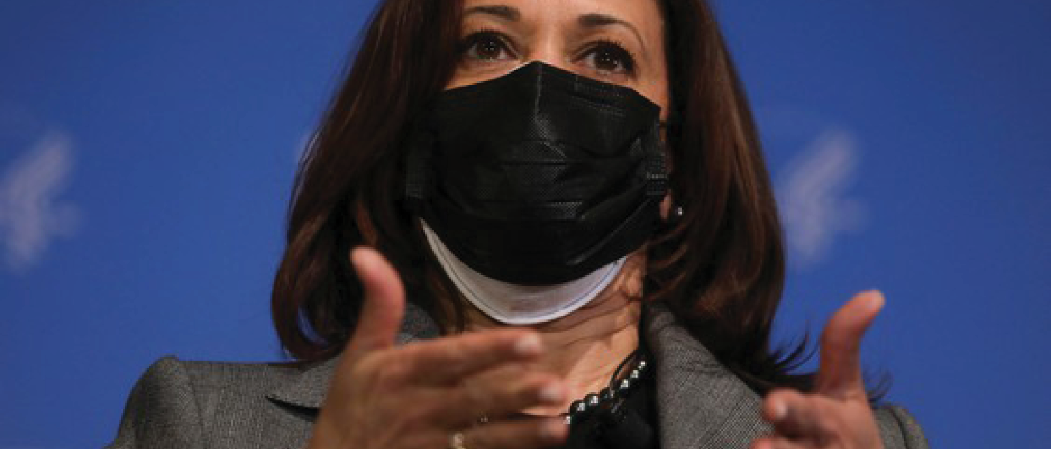 Image from National Post article - US Vice President Kamala Harris wearing two masks