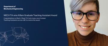 Mech2 Head TA wins Killam Graduate Teaching Assistant Award