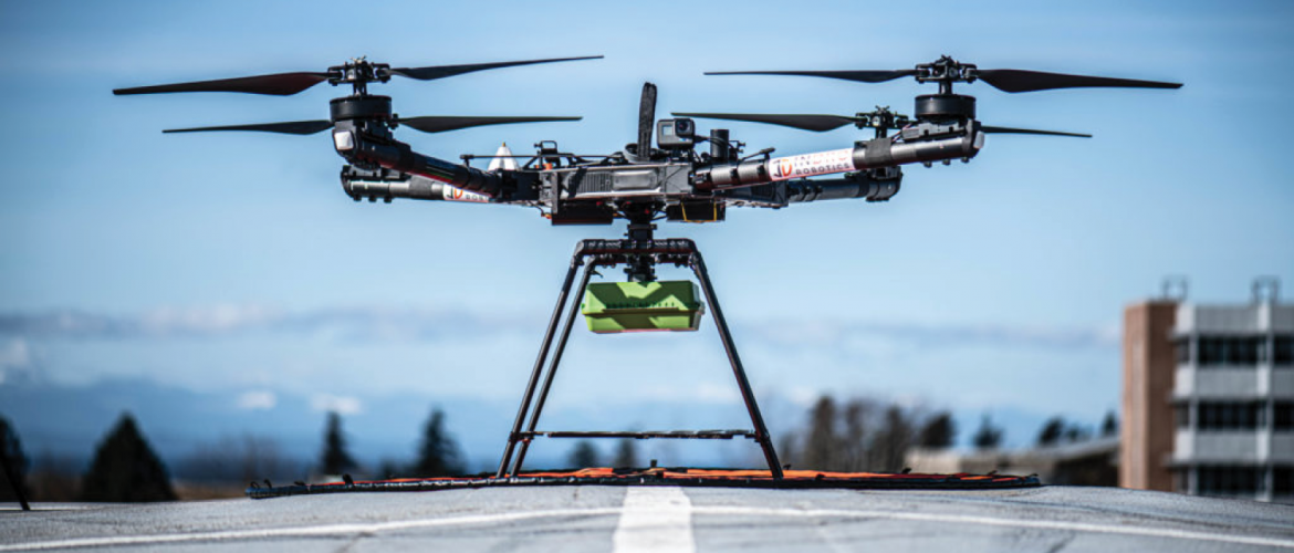 Drone gets ready for takeoff